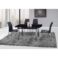 Global Furniture/Silver Glass/Chrome Dining Table (Dining Table/Chrome)