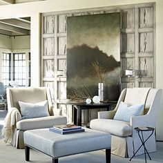 Give me anything done by the combo of architect Bobby McAlpine and designer Susan Ferrier.  This Rosemary Beach home is featured in Coastal Living:  ... refined mix of muted shades with gradations from room to room; layered textures such as distressed wood and soft, organic fabrics; and clean lines found on everything from gridded panes of divided-light windows to pared-down versions of traditional furnishings. Pecky cypress woodwork lends sea-inspired texture—as though the wood washed ashore, battered by salt, wind, and sand, says Susan.