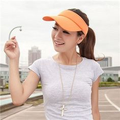 New Arrival 6 Colors Adjustable Women Summer Outdoor Sun Visor Hat Sport  Golf Baseball Tennis Hat Cap Gift e95d6a37f5f6