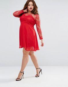 Boohoo Plus   Boohoo Plus Lace Skater Dress