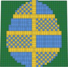 Here is an Easter Egg divided into 8 sections, and with a blue and yellow checkered design Easter Lego, Lego Mosaic, Checker Design, Lego Projects, Building Toys, Legos, Brick, Mixed Media, Community
