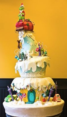 grinch cake....how cute that would be for a different kind of Christmas wedding cake