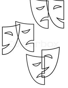Comedy Drama Masks Clip Comedy Mask Outline