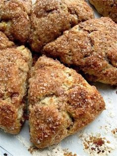 Fresh Apple Cinnamon Scones - Fresh diced apple and cinnamon chips complement each other beautifully, flavor-wise; and a topping of crunchy, cinnamon-enhanced coarse sugar is the perfect foil to the scones' tender texture.