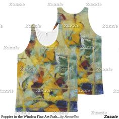 Poppies in the Window Fine Art Fashion Tank Top All-Over Print Tank Top with original abstract art by Avonelle Kelsey