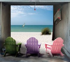 Beach House Garage Door Decals - And last but certainly not least, the beach house. If you can't afford the real thing, this is the next best thing. Garage Door Handles, Garage Door Trim, Sliding Garage Doors, Garage Art, Garage House, Garage Ideas, Door Murals, Mural Wall Art, 3d Wall