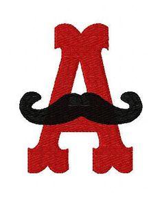 Mustache Fun Monogram Machine Embroidery Font Design Set. $16.50, via Etsy.