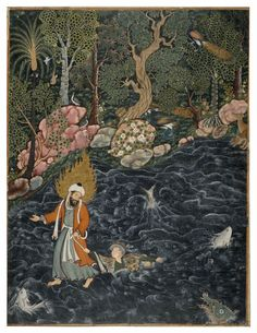 From the Hamzanama. The prophet Elias (Elijah) rescuing Prince Nur ad-Dahr from drowning in a river. Lush forest in background and fish and sea creatures in foreground. Mughal style, Islamic Period, c.1564-1579. Made in India.