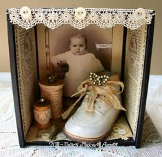 Vintage Photo And Baby Bootie Box