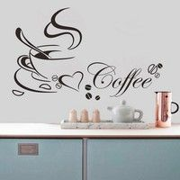 Wish | Home Decor Coffee Cup Heart Sticker Decal Cafe Restaurant Home Wall Window Mural D¨¦cor (Size: 1)