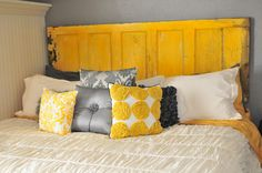 Door headboard, i love the color combination! a splash of yellow brightens everything up!