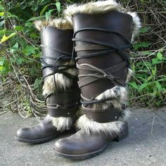 Leather greaves, leg armor, boot covers, custom made by folkofthewood on etsy.