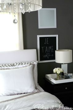 Home Décor- Je T'aime by the bed. Nice