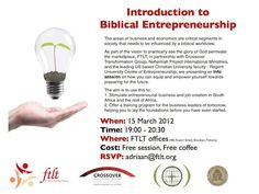 An Info evening on a new course to be presented on Biblical Entrepreneurship...