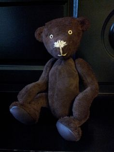 """12"""" brown real suede bear made by myself...."""