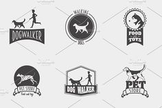 Set of pet shop, dog walker logos by Woters little shop on @creativemarket