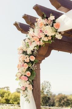 Talk about a flower fest! This perfect floral arch made up of blooms in Peach… Peach Wedding Theme, Floral Wedding, Wedding Colors, Dream Wedding, Wedding Arch Flowers, Wedding Ceremony, Ceremony Arch, Gazebos, Creation Deco