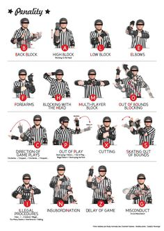 16 Official hand signals for Roller Derby penalties. Roller Derby Skates, Roller Derby Girls, Roller Skating, Derby Names, Track Roller, Fresh Meat, Derby Day, Girls Rules, Referee