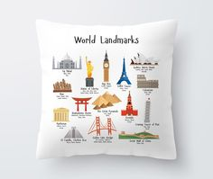 This modern kids decorative pillow features famous landmarks, making it a perfect child's birthday gift or baby shower gift. Kids throw pillow illustrates 15 world landmarks: - Golden Gate Bridge in S Boys Room Design, Playroom Design, Boys Room Decor, Playroom Decor, Boy Girl Bedroom, Boy Room, Kids Bedroom, Kids Pillows, Throw Pillows