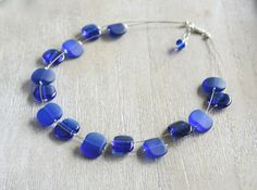 Recycled Glass Bead Necklace.  Handmade Recycled Glass Beads made from a Skyy Vodka bottle