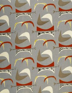 Furnishing fabric, by Marion Mahler for David Whitehead Ltd. Screen-printed cotton. UK, 1952.