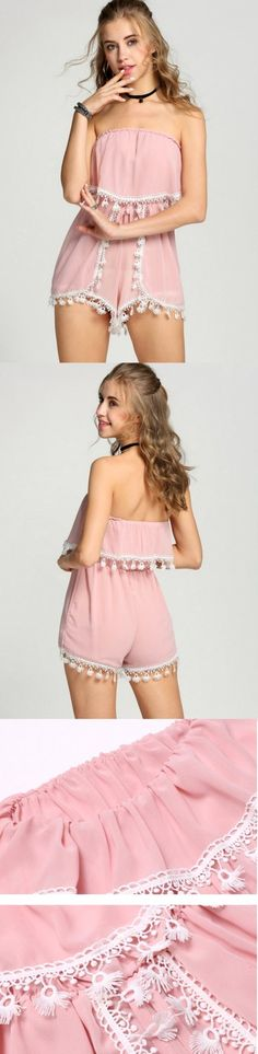 Product Description: Summer Fashion Pretty Pink Chiffon Ruffles/ Backless Jumpsuit Romper Material: Polyester, Color: Pink, Design: Off Shoulder, Strapless, Season: Summer, Autumn, Collar: Slash Neck,