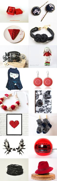 Red and Black by wonderful Kanzashi on Etsy--Pinned with TreasuryPin.com