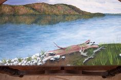 Hand Painted Picture of Squapan. Lake in Maine on Table Top