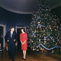 White House Christmas Tree 1962.  Jack and Jackie Kennedy in the Blue Room