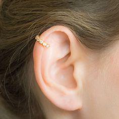 SALE - Helix piercing Gold, Helix earring, pave cartilage earrings, helix earring hoop, cartilage e Gold Helix Earrings, Black Diamond Earrings, Emerald Earrings, Rose Gold Earrings, Crystal Earrings, Crystal Jewelry, Stud Earrings, Cute Cartilage Earrings, Cartilage Stud