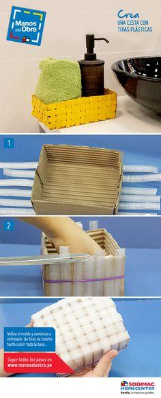 ¡Ponte manos a la obra! Y con cintas de plástico arma tu propia cesta, para organizar mientras decoras tus ambientes.. ¡Sigue este paso a paso!