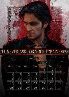 August: Richard Armitage as Sir Guy of Gisbourne in Robin Hood .   The Gorgeous 2014 Calendar That Every Nerd Needs In Their Life