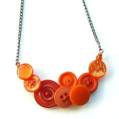 Bright Button Necklace Small Orange Burst  by buttonsoupjewelry                                                                                                                                                                                 More