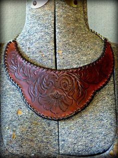 Tooled Leather Bib Necklace by TILTadornments on Etsy, $63.00