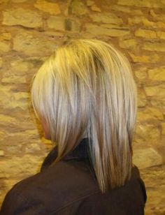 Medium hair. Love the back! @Alissa Evans Evans Evans Meyer  - I need to keep this in mind for next month!  I really like the volume on top.