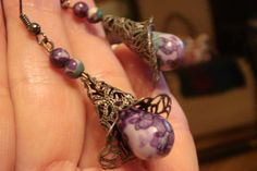 'Purple Flower Drop Earrings' is going up for auction at  3pm Mon, Oct 8 with a starting bid of $5.
