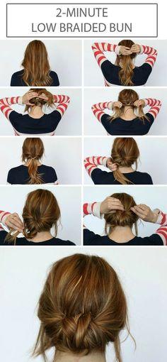 Bilder härifrån Superenkel frisyr för långt eller mellan långt hår. Utgå från en låg hästsvans, dra igenom tofsen ett varv, fläta och fäst upp mes hårnålar. Följ länken för mer beskrivning. Trevlig he