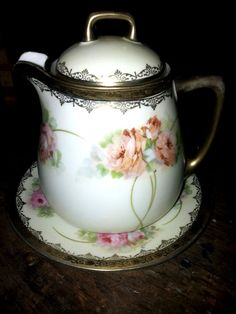 Vintage Bavarian China / Lidded Pitcher with Catchdish 1870'
