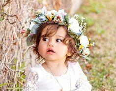 Soft Pink & Blue Floral Halo Crown Wreath Headband  $24.99  https://rufflesandbowties.boutique