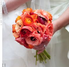 I love the colors. Orange, coral, and plum. Would go lovely with the gray on the groomsmen's suits.