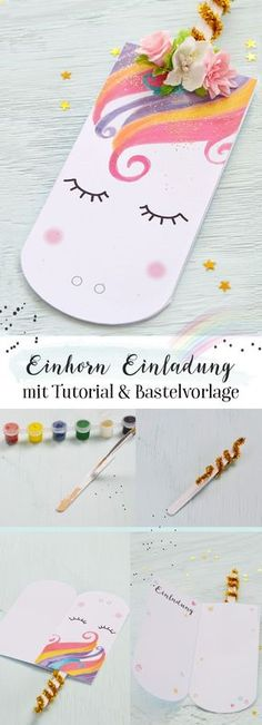 Einhorn Einladung selber basteln | Beautiful Cases For Girls