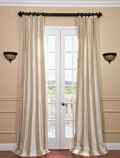 Cappuccino Faux Silk Taffeta Stripe Curtain $99 Drapes Curtains, Silk Curtains, White Curtains, Valance, Luxury Curtains, Pearl White, Curtain Tie Backs, Curtain Rods, Lining Fabric