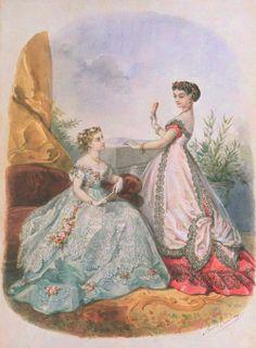 1866. Evening dresses, La Mode Illustrée.
