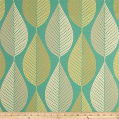 HGTV HOME Loose Leaf Jacquard Turquoise from @fabricdotcom  This light/medium weight jacquard fabric is perfect for window treatments (draperies, curtains, valances, swags), bed skirts, accent pillows, duvet covers and light upholstery. Colors include silver, gold and turquoise. This fabric has 9,000 double rubs.