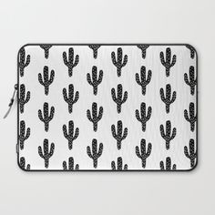 Linocut Cactus black and white minimal modern printmaking trendy hipster canvas dorm college art Laptop Sleeve