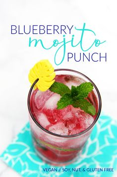This quick and easy sparkling Blueberry Mojito Punch is sure to be a hit at your next summer soirée!  Just 5 easy ingredients!