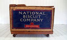 Vintage Uneeda Biscuit Wooden Crate Storage Box on by DivineOrders, $420.00