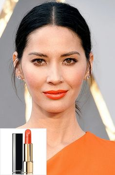 Beauty Update: 6 Bold Spring Trends You Have to Try | People - Olivia Munn in orange lipstick
