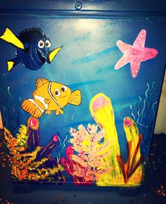 Finding Nemo Artwork - Nemo & Dory We love how we updated our pool house by painting underwater themed art on walls and appliances.