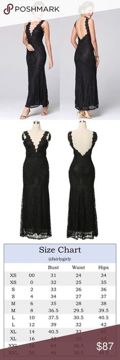 Plunging Neckline and Back Floral Lace Gown An elegant, evening gown take on the classic black dress. Plunging neckline, open back, pretty floral lace, fully lined. Sleeveless, body hugging fit with a flared mermaid cut.  ❌ Sorry, no trades.   fairlygirly fairlygirly Dresses Maxi